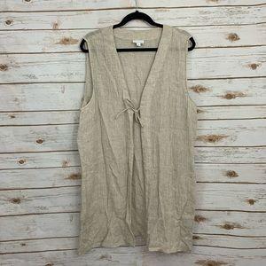Pure J Jill Tan 100% Linen Sleeveless Vest